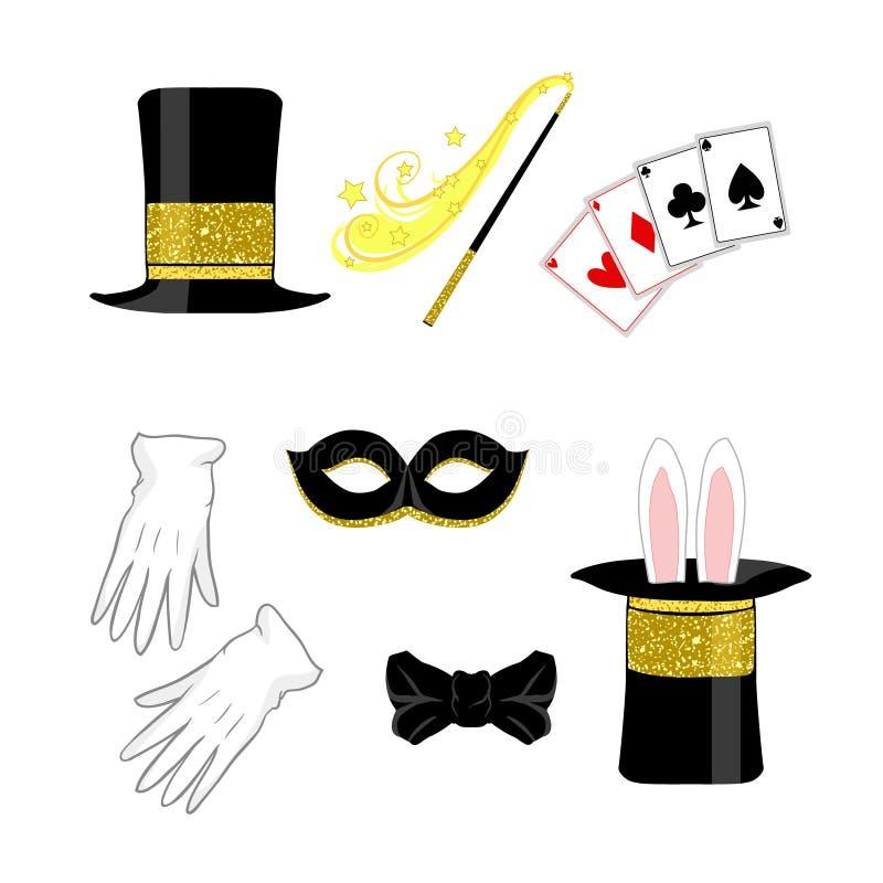Internationale Circusdag - de Tovenaar isoleerde symboolreeks van hoed van de tovenaars de zwarte cilinder, Carnaval-masker, vlin stock illustratie