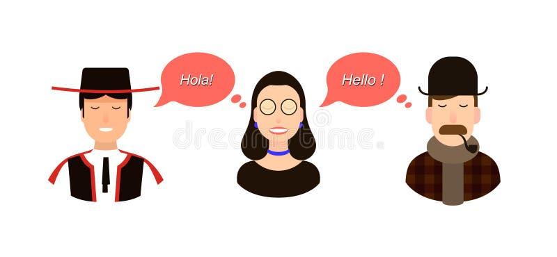 Internationale communicatie vertaalconceptenillustratie toeristen of zakenlieden of politici van Spanje of stock illustratie