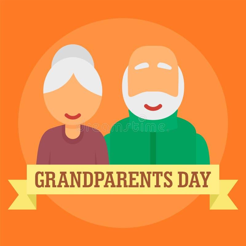 Internationale dag van grootoudersachtergrond, vlakke stijl vector illustratie