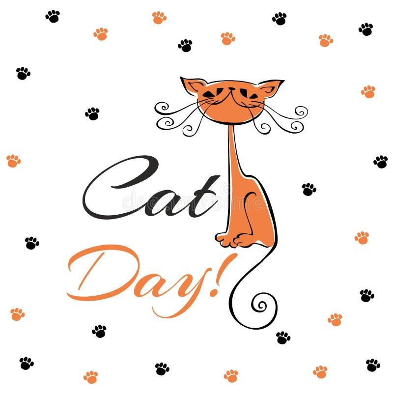Internationale dag van katten De kaart van de vakantie Rood kattenbeeldverhaal Grappig vrolijk katje Katten` s voetafdrukken vector illustratie