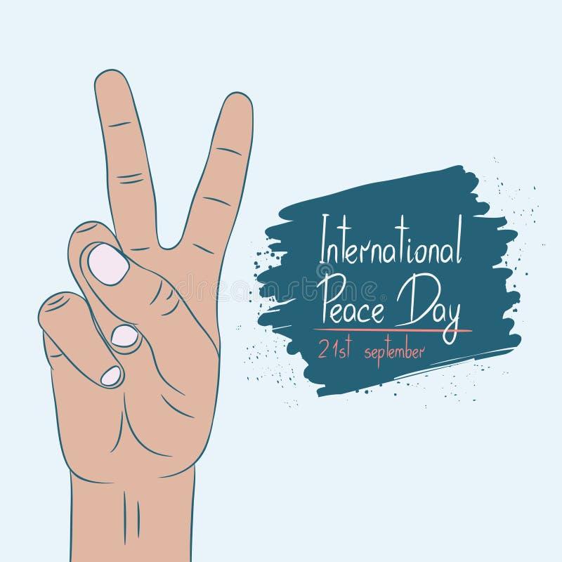 Internationale Dag van Vrede - affichemalplaatje Kaart van 21 September Handgebaar met twee vingers Vector royalty-vrije illustratie