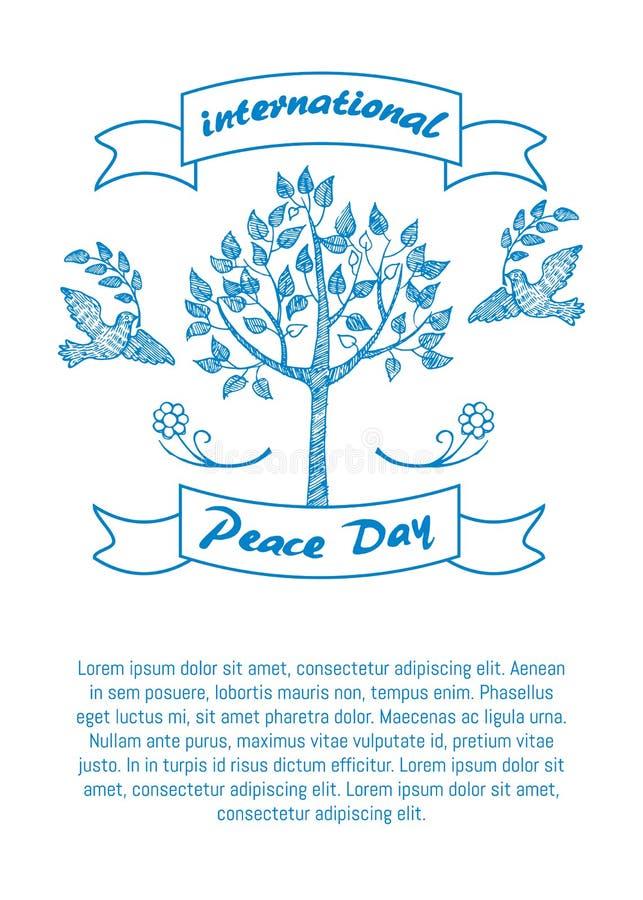 Internationale Dag van Vredes Promotieaffiche royalty-vrije illustratie