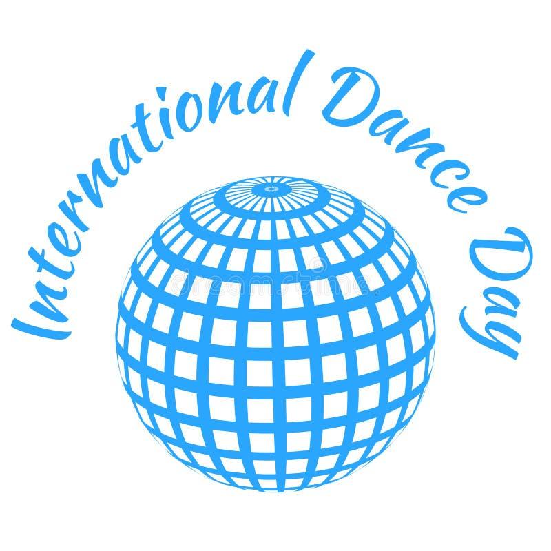 Internationale dansdag Blauwe spiegelbal, witte achtergrond stock illustratie