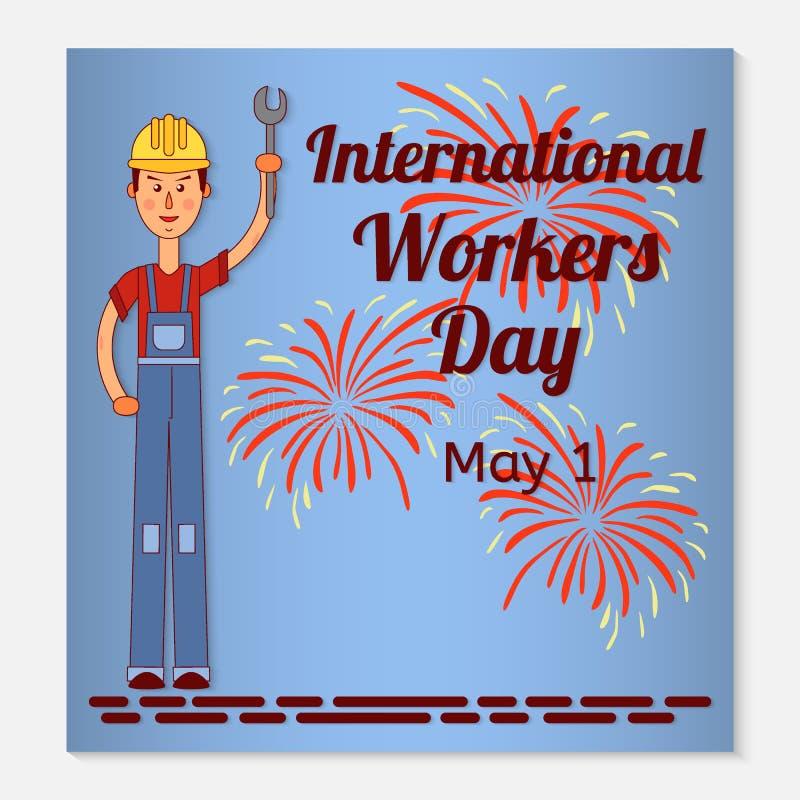 Internationale de groetkaart van de Arbeidersdag of banner Een werkende mens in een helm en een moersleutel in zijn hand Feesteli stock afbeeldingen