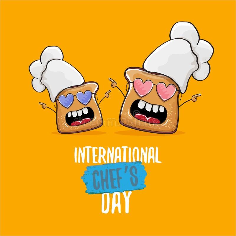 Internationale de groetkaart van de chef-kokdag of banner met het vector grappige die brood van de beeldverhaalchef-kok met cheaf stock illustratie