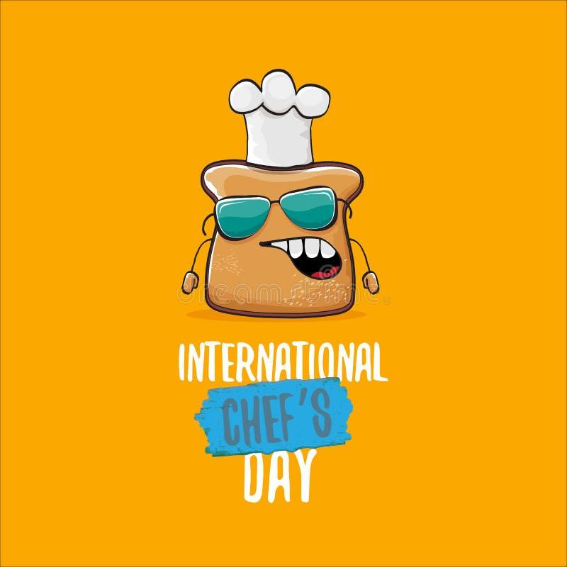 Internationale de groetkaart van de chef-kokdag of banner met het vector grappige die brood van de beeldverhaalchef-kok met cheaf vector illustratie