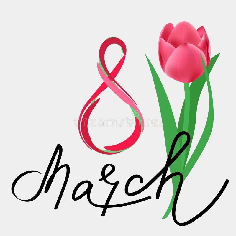 Internationale de groetkaart van de Vrouwen` s Dag 8 maart-prentbriefkaar royalty-vrije illustratie
