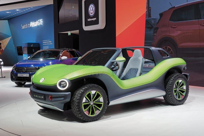 Internationale de Motorshow van 89ste Genève - Volkswagen-het conceptenauto Met fouten van identiteitskaart royalty-vrije stock foto's