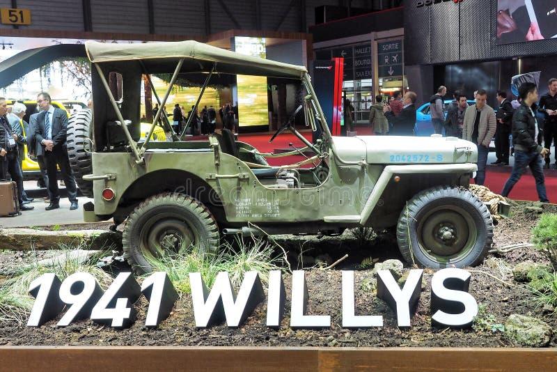 Internationale de Motorshow van 88ste Genève 2018 - 1941 Willys stock afbeeldingen