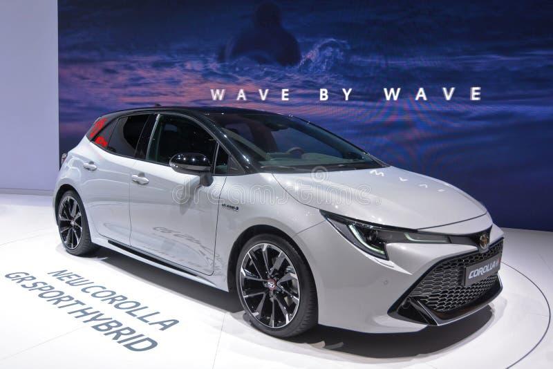 Internationale de Motorshow van 89ste Gen?ve - het Sport Hybrid van Toytota Corolla gr. royalty-vrije stock foto
