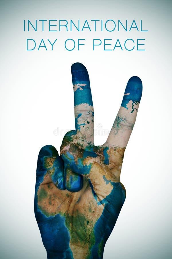 Internationale die dag van vrede (Aardekaart door NASA wordt geleverd) vector illustratie