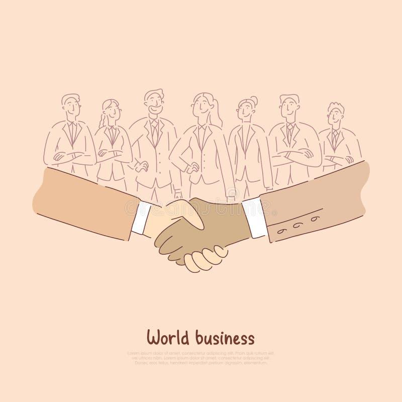Internationale economische samenwerking, partners die handen na succesvolle onderhandelingenbanner schudden stock illustratie