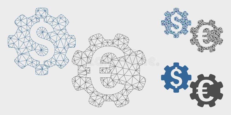 Internationale Financiële Werktuigkundigen Vector het Mozaïekpictogram van Mesh Carcass Model en van de Driehoek vector illustratie