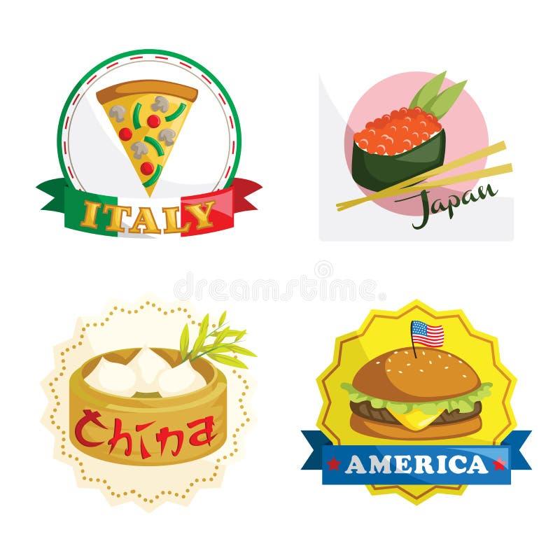 Internationale gastronomische voedselpictogrammen stock illustratie