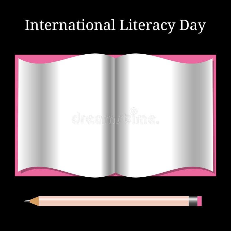 Internationale Geletterdheidsdag Open boek en potlood vector illustratie