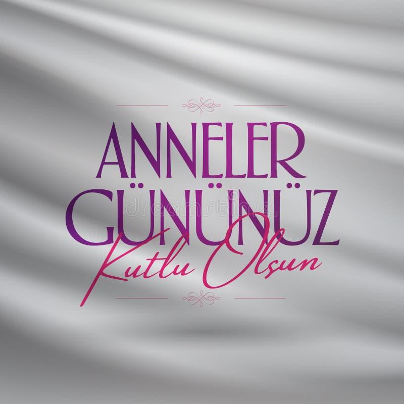 Internationale Gelukkige Moederdag Aanplakbord, Affiche, Sociale Media, het malplaatje van de Groetkaart Turks: Anneler Gununuz K stock illustratie