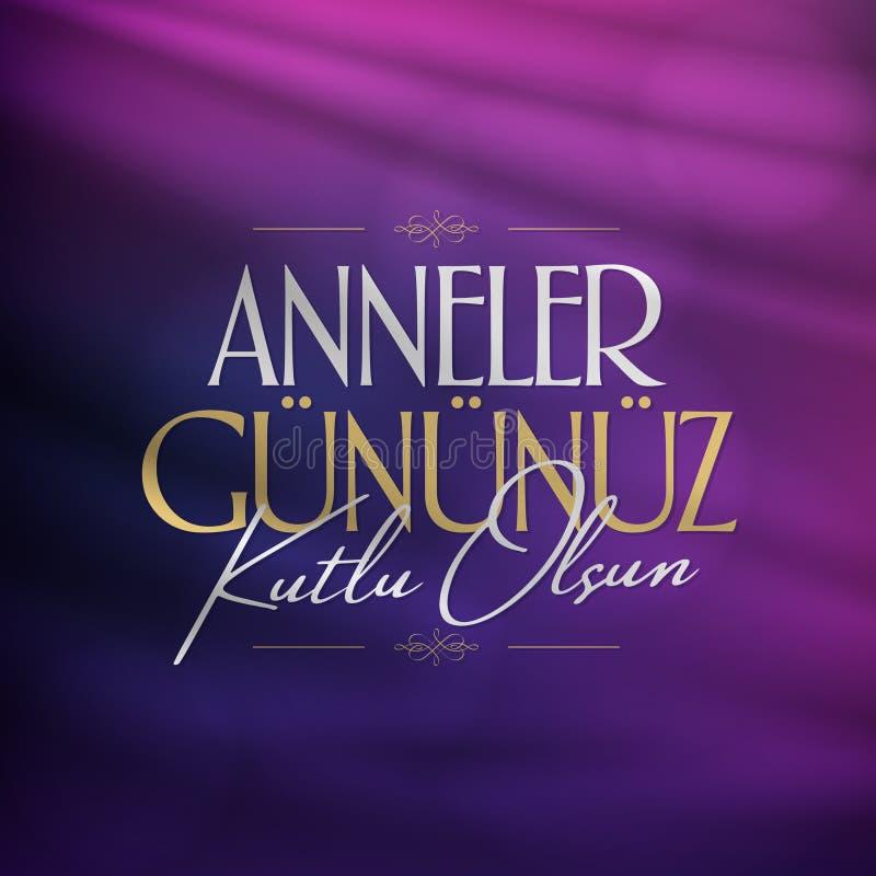 Internationale Gelukkige Moederdag Aanplakbord, Affiche, Sociale Media, het malplaatje van de Groetkaart Turks: Anneler Gununuz K vector illustratie