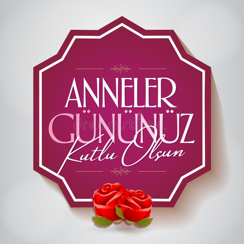 Internationale Gelukkige Moederdag Aanplakbord, Affiche, Sociale Media, het malplaatje van de Groetkaart Turks: Anneler Gununuz K royalty-vrije illustratie