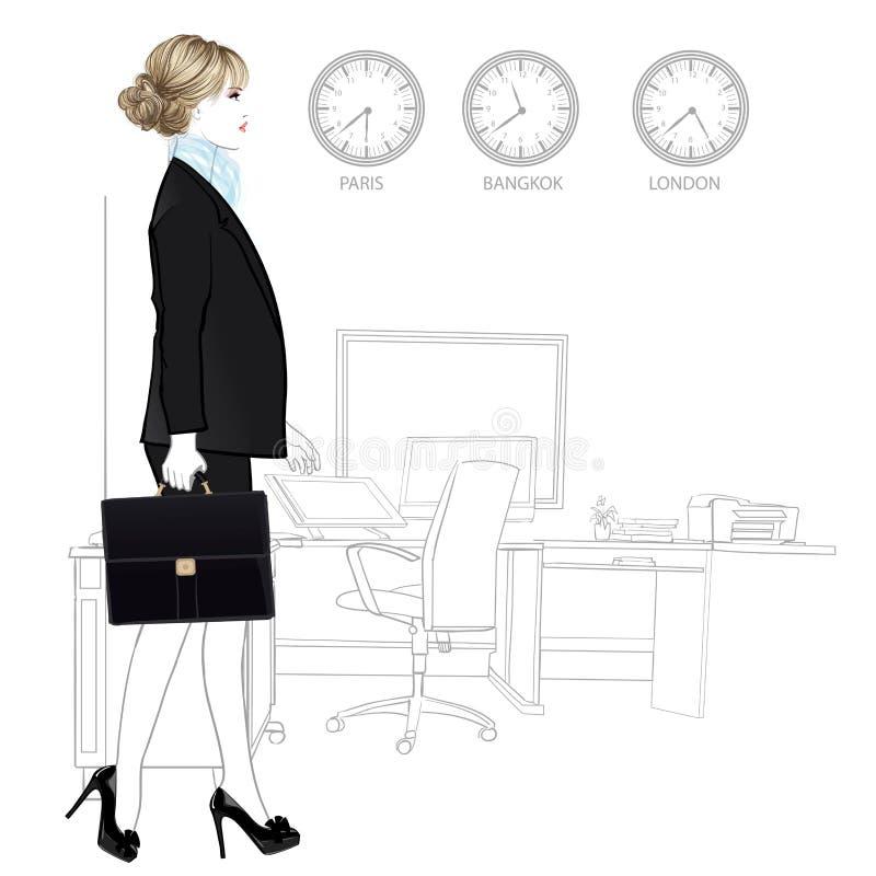 Internationale Geschäftsfrau, die in Büro hereinkommt lizenzfreie abbildung