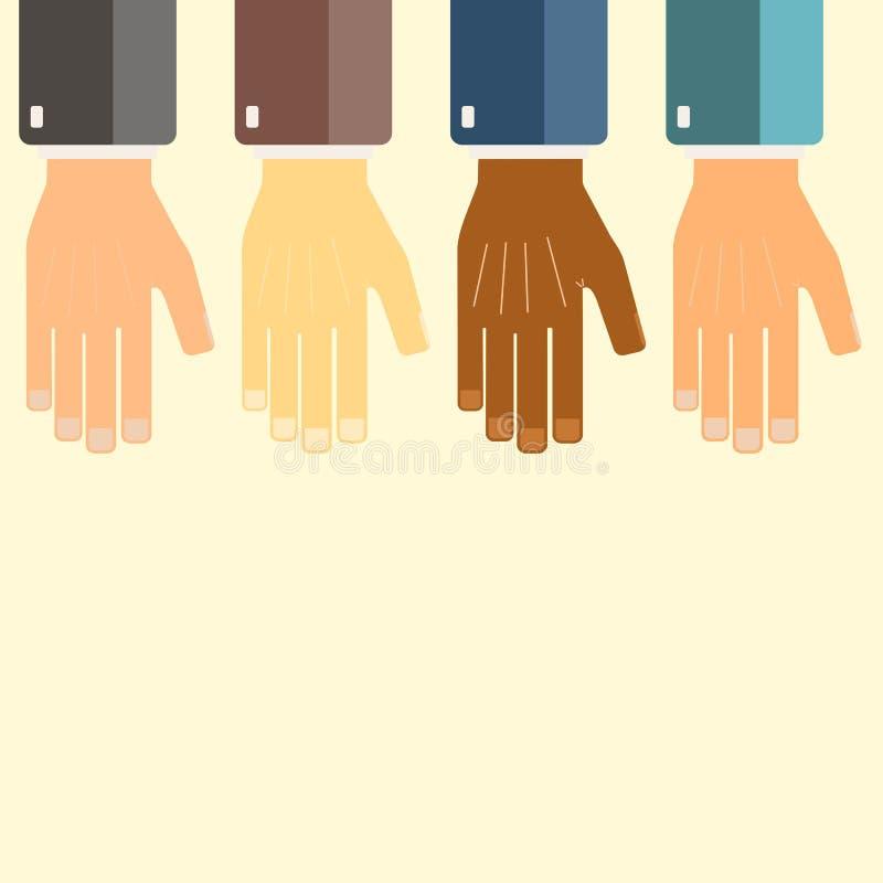 Internationale Geschäftsgruppe vereinigte Hände zusammen Verbindungsteamwork-Konzepte Kooperatives Projekt Auch im corel abgehobe vektor abbildung