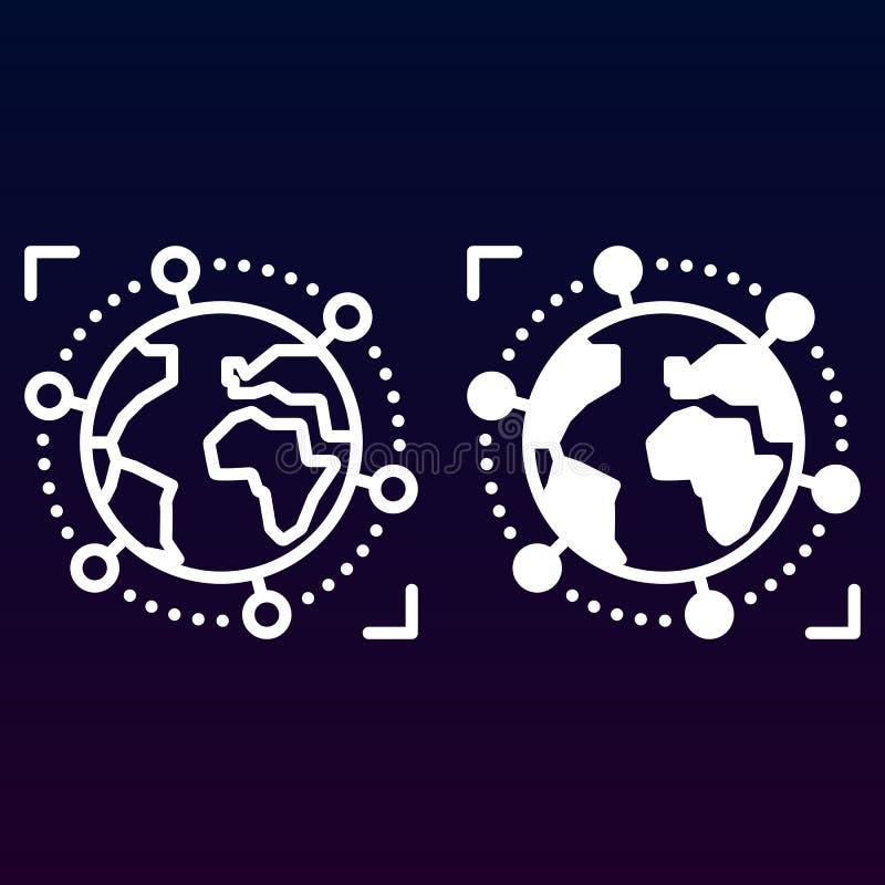 Internationale, globale bedrijfslijn en stevig pictogram, overzicht en gevuld vectorteken, lineair en volledig die pictogram op w vector illustratie