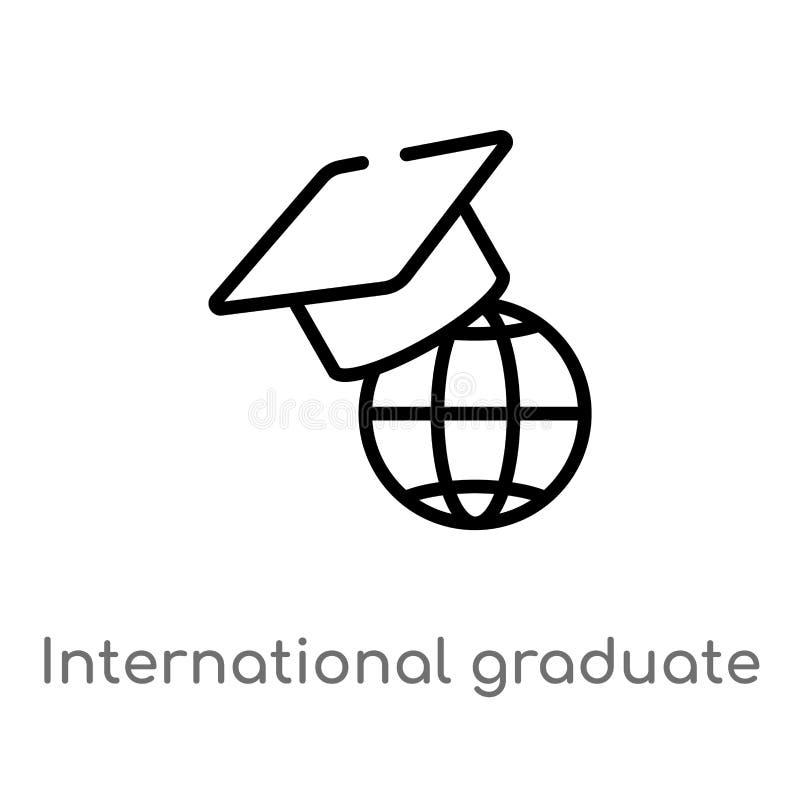 internationale graduierte Vektorikone des Entwurfs lokalisiertes schwarzes einfaches Linienelementillustration vom Ausbildungskon lizenzfreie abbildung