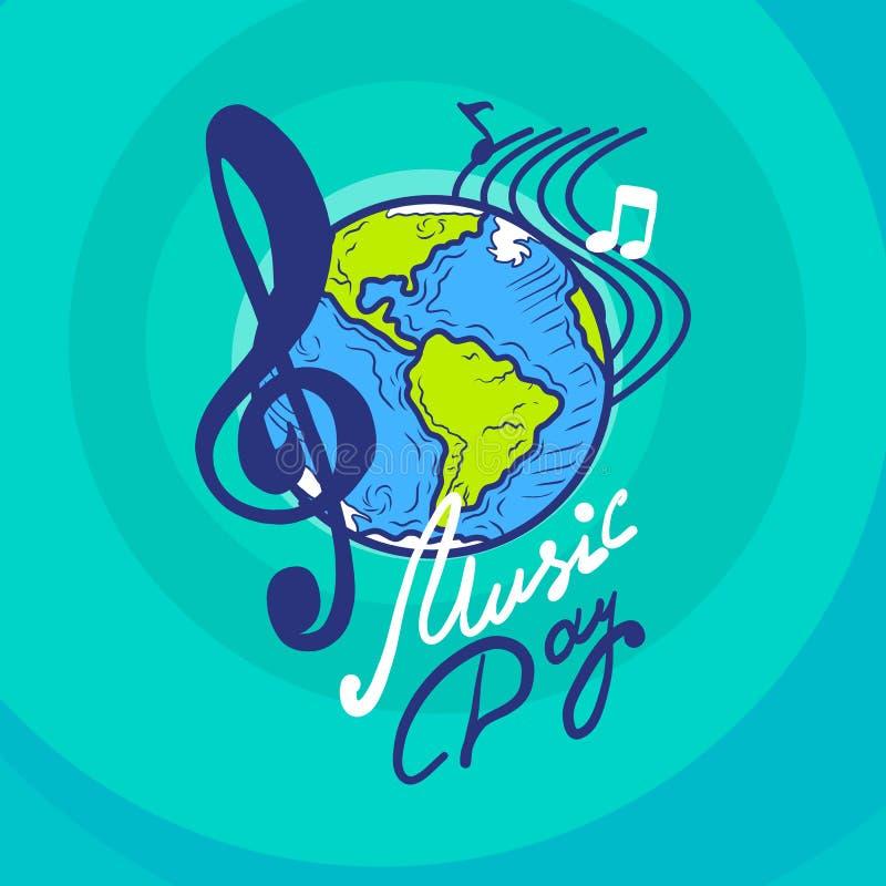 Internationale het conceptenachtergrond van de muziekdag, hand getrokken stijl stock illustratie