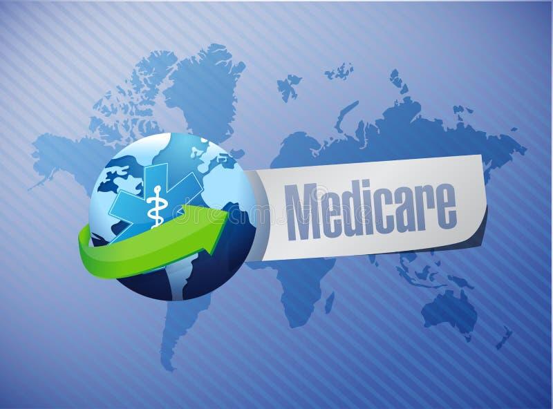 Internationale het tekenillustratie van gezondheidszorg voor bejaarden stock illustratie
