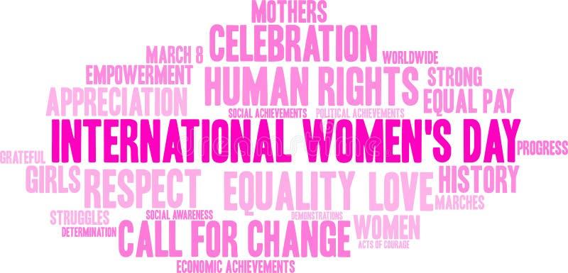 Internationale het woordwolk van de Vrouwen` s Dag royalty-vrije illustratie