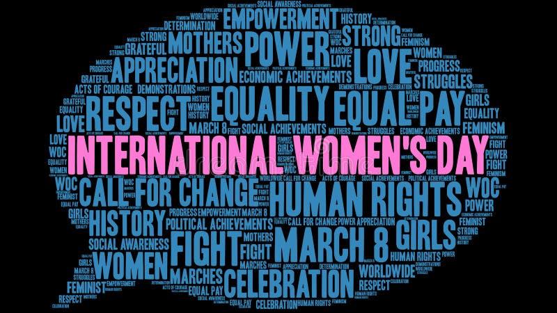 Internationale het woordwolk van de Vrouwen` s Dag stock illustratie