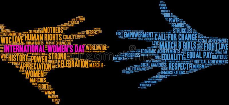 Internationale het woordwolk van de Vrouwen` s Dag vector illustratie