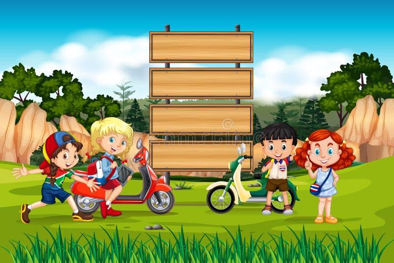 Internationale kinderen op houten raad stock illustratie
