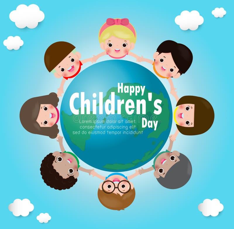Internationale kinderen` s dag jonge geitjes het houden dient een cirkel op de bol in affiche met gelukkige jonge geitjes rond de vector illustratie