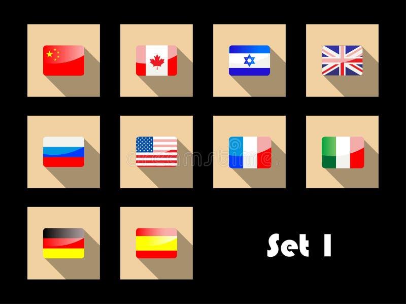 Internationale Landesflaggen auf flachen Ikonen stock abbildung