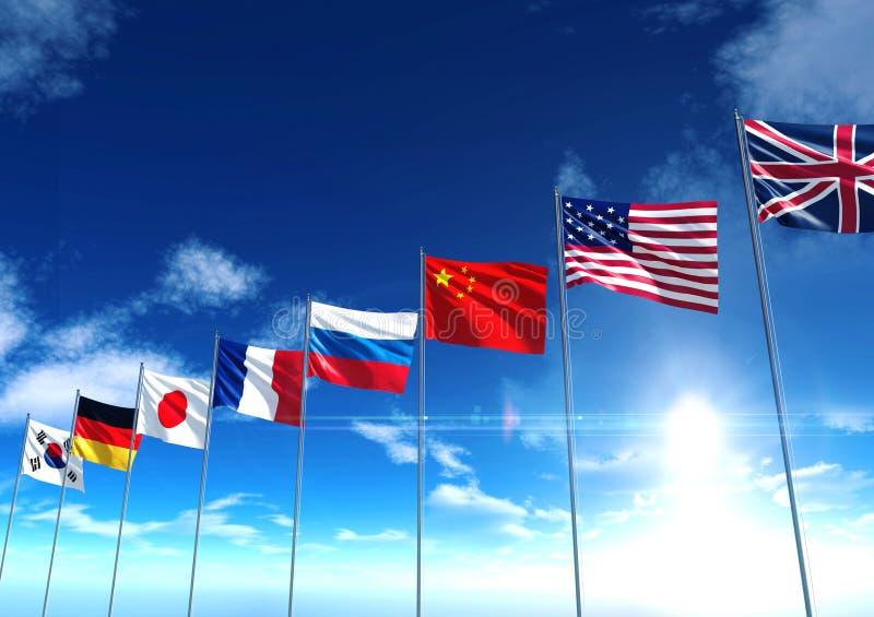 Internationale Landesflaggen unter blauem Himmel lizenzfreie stockfotos