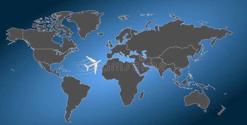 Internationale luchtvaartmaatschappij, de Wereldkaart stock illustratie