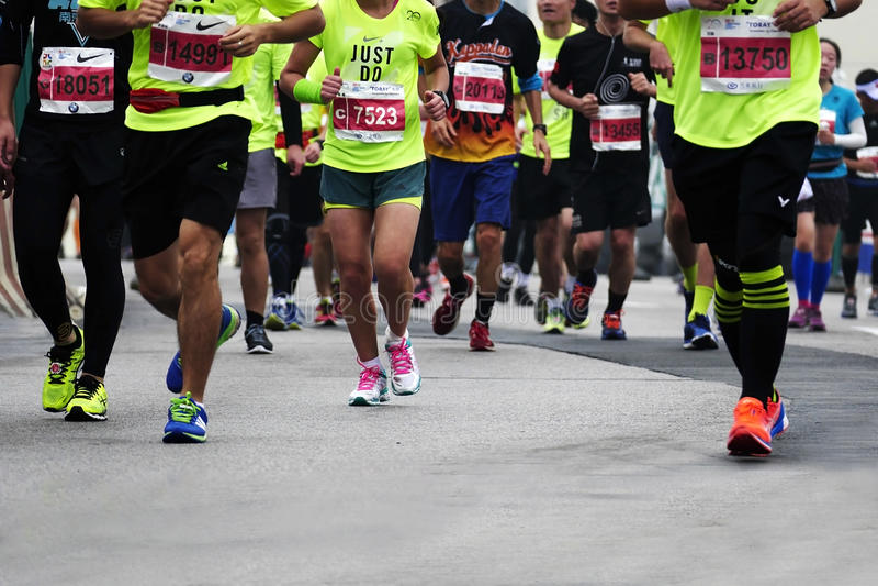 Internationale Marathon 2015 in Shanghai royalty-vrije stock fotografie