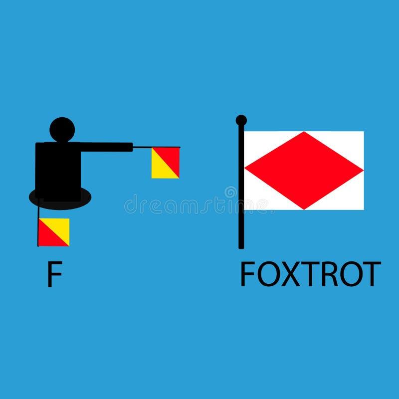 Internationale mariene signaalvlag, overzees alfabet, illustratie, seinpaal, mededeling, foxtrot royalty-vrije illustratie