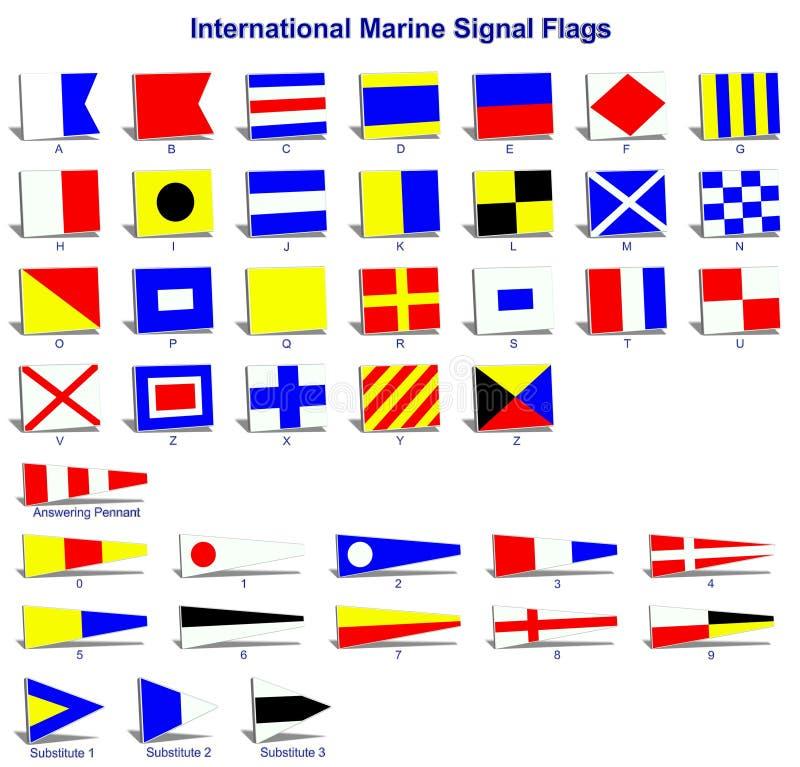 Internationale Marinesignalmarkierungsfahnen stock abbildung