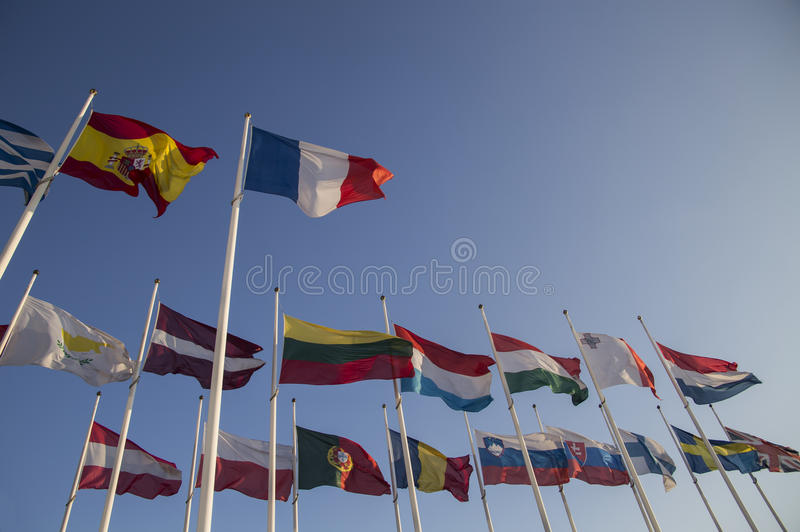 Internationale Markierungsfahnen stockfoto