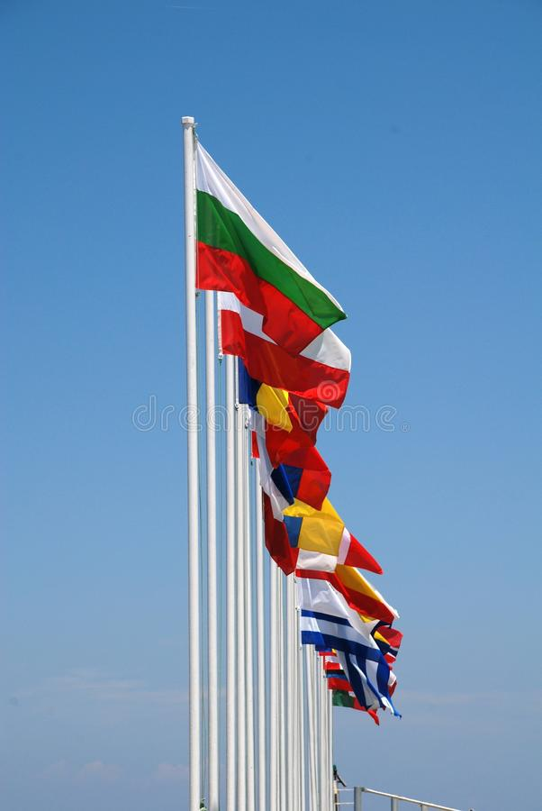 Internationale Markierungsfahnen, Nisyros lizenzfreie stockbilder