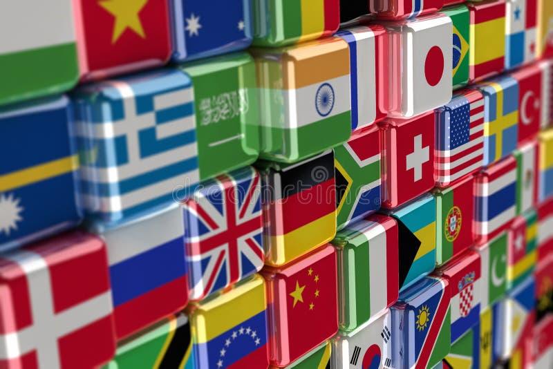 Internationale Markierungsfahnewürfel lizenzfreie abbildung
