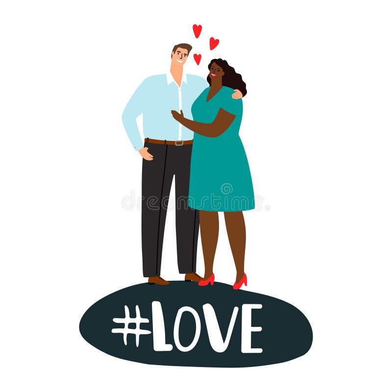Internationale Paare in der Liebe Positive Liebesvektorillustration vektor abbildung