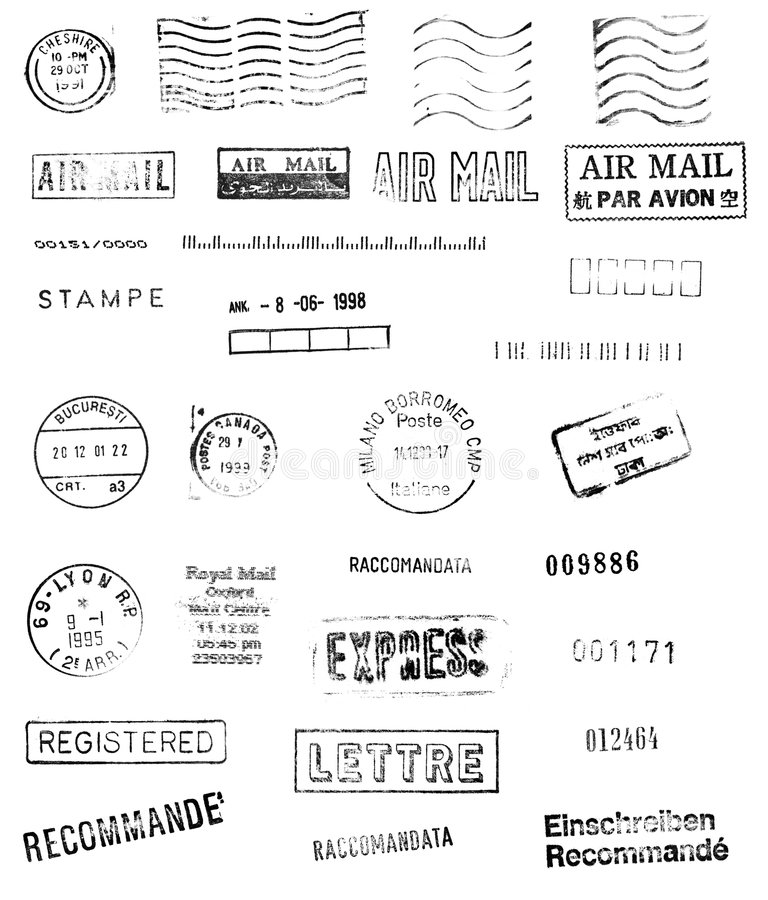 Internationale post stock illustratie