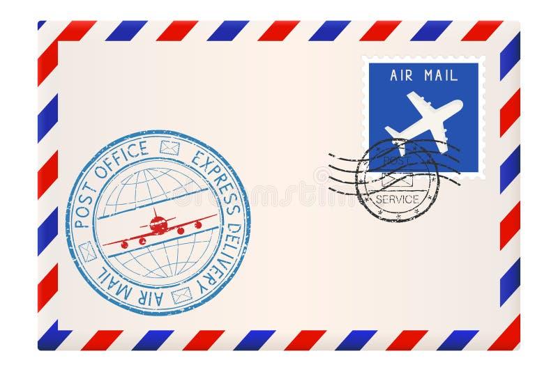 Internationale postenvelop met uitdrukkelijke leveringszegel royalty-vrije illustratie