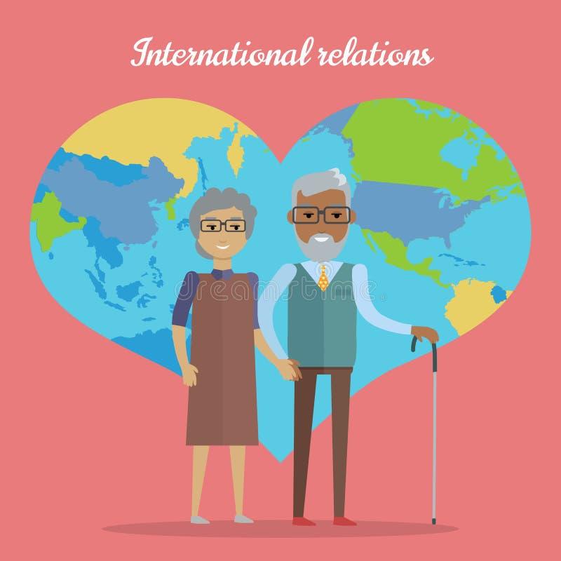 Internationale relaties Reis in Oude dagconcept royalty-vrije illustratie