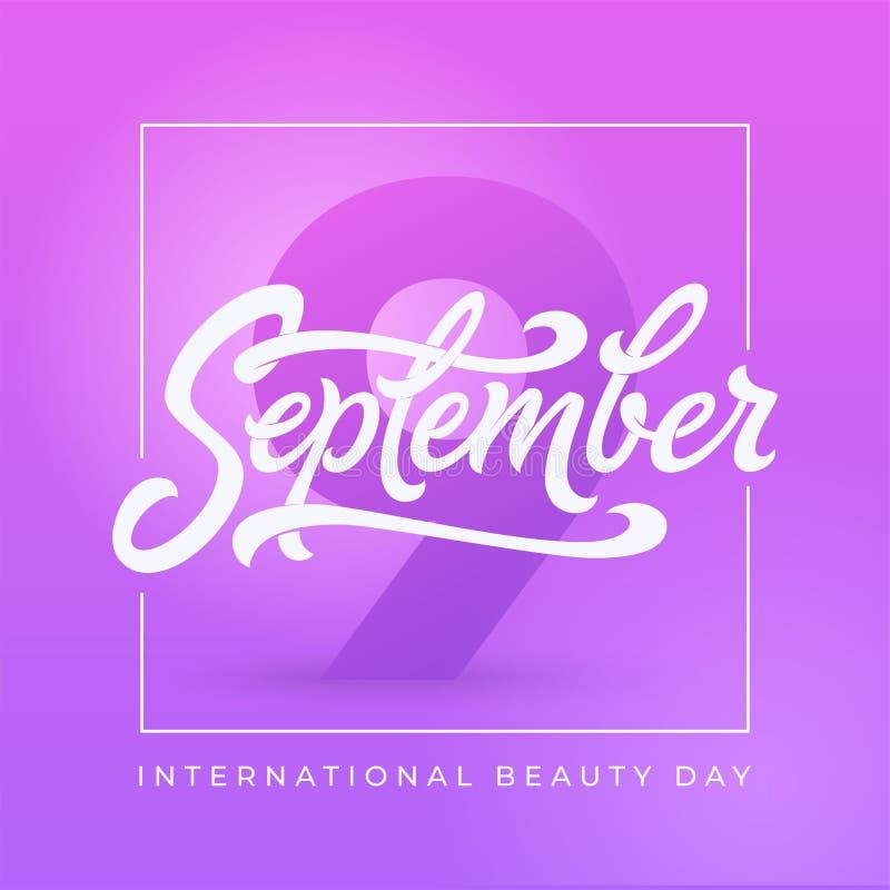 Internationale Schönheitstagesfahne mit quadratischem Rahmen 9 neun September-Typografie Schöne Vektorillustration für lizenzfreie abbildung