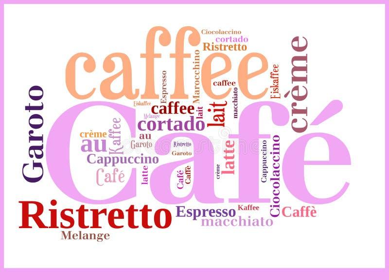 Internationale Spezialitäten der Wort-Wolke des Kaffees vektor abbildung