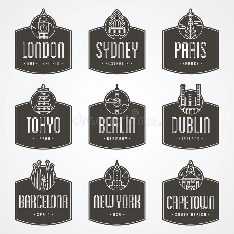 Internationale stadskentekens royalty-vrije illustratie
