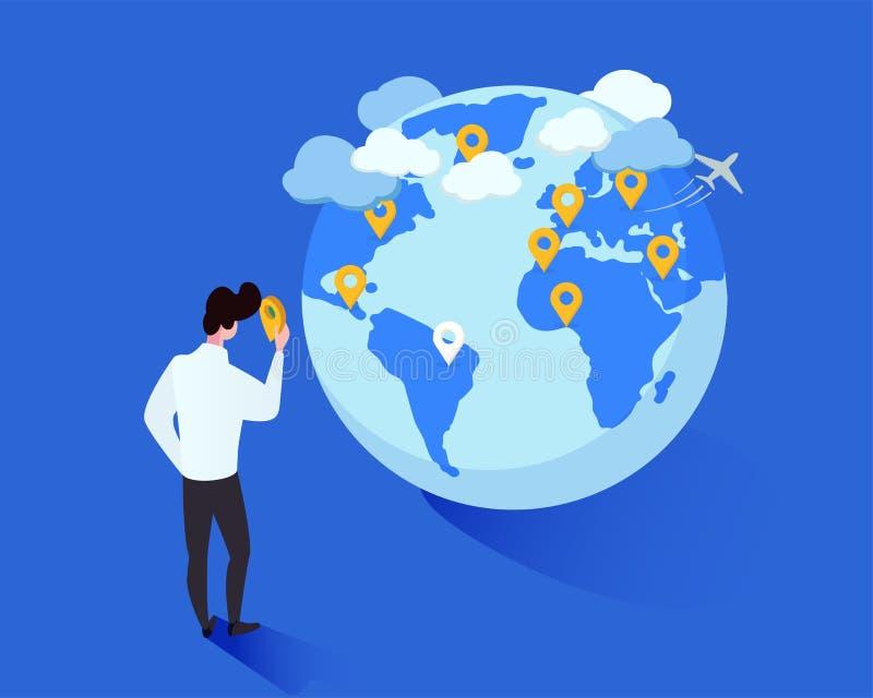 Internationale toerisme vector isometrische illustratie Beeldverhaalmens die geotags op het karakter van het bolbeeldverhaal plaa vector illustratie
